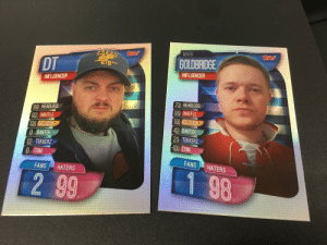Who made these?! 🤣 As if they have given @markgoldbridge -100 for Trim and @MrDTAFC an 8 for Banter. Comment below if you want one! 🤣🤣 https://t.co/lqaH9MNreI: MARK  Teres  RESH es  GOLDBRIDGE  DT  KID  INFLUENCER  INFLUENCER  73 HEADLOSS  99 WAFFLE  100 DELUSION  42 BANTER  |21 TEKKERZ  -100 TRIM  99 HEADLOSS  92 WAFFLE  100 DELUSION  8 BANTER  12 TEKKERZ  O TRIM  FANS  HATERS  FANS  HATERS  1 98  2 99 Who made these?! 🤣 As if they have given @markgoldbridge -100 for Trim and @MrDTAFC an 8 for Banter. Comment below if you want one! 🤣🤣 https://t.co/lqaH9MNreI