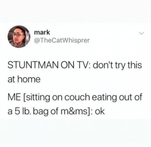 eating out: mark  @TheCatWhisprer  STUNTMAN ON TV: don't try this  at home  ME [sitting on couch eating out of  a 5 lb.bag of m&ms]: ok