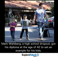 As a father, this is so admirable.  Marky Mark, we salute you <3: Mark Wahlberg, a high school dropout, got  his diploma at the age of 42 to set an  example for his kids  Talent  Explore As a father, this is so admirable.  Marky Mark, we salute you <3