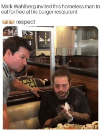 Homeless, Respect, and Mark Wahlberg: Mark Wahlberg invited this homeless man to  eat for free at his burger restaurant  respect  RITE  MILE  IM Hes doing his part