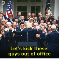 Memes, News, and Party: Mark Wilson/Getty Images News/Getty Images  Let's kick these  guys out of office One year ago today, Republicans voted to strip millions of Americans of care, then threw a party in the Rose Garden to celebrate.  Let's kick each and every one of them out of office. Pledge to vote them out: dems.me/defeat-gop