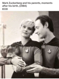 Mark Zuckerberg, Parents, and Star Trek: Mark Zuckerberg and his parents, moments  after his birth, (1984)  1984 Too Functional?