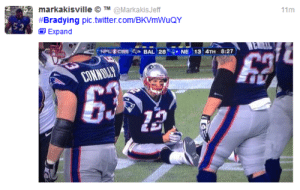 Brady continues meme of 'Bradying' during playoff loss - NFL News ...: markakisville O TM@MarkakisJeff  #Bradying pic.twitter.com/BKVmWuQY  11m  Expand  WE  NPLCES  BAL 28 NE 13 4TH 8:27  CONNILLY Brady continues meme of 'Bradying' during playoff loss - NFL News ...