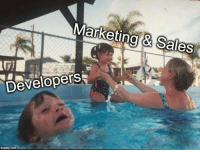 An accurate depiction: Marketing Sales  Developers An accurate depiction