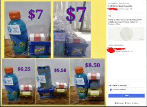 Facebook, Party, and Blue: Marketplace> Miscellaneous  Fortnite loot bags for parties  9 minutes ago  $7  $1  Prices as listed. The blue box that says DROP  includes 2 waterproof fortnite stickers, the  treasure... More  Thanks  For  Coming!  Thanks  For  Seller Information  Joined Facebook in 2007  $8.50  $6.25 |  $9.50 |  For  Thanks  For  Thanks  For  Send seller a message  Is this available?  Send  Message R save → Share These Fornite Party Bags