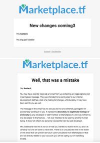 Future, Target, and Tumblr: Marketplace.tf  New changes coming3  Hey bastard,  You big gay! bastard  Support |Unsubscribe   Marketplace.tf  Well, that was a mistake  Hey bastard,  You may have recently received an email from us containing an inappropriate and  meaningless message. This was intended to be sent solely to our internal  development staff as a test of a mailing list change; unfortunately, it may have  been sent to you as well.  The message in the email has no excuse and we are extremely apologetic for  accidentally sending it to you. It represents absolutely no legitimate feelings or  animosity by any developer or staff member at Marketplace.tf, and was written by  one developer to themselves not ever intended to be seen by another human  being. It does not reflect any personal viewpoints held by said developer.  We understand that this is not an e-mail you wanted to receive from us, and it is  certainly not one we want to have sent. There is an unsubscribe link in the footer  of this email that will prevent all future communications from Marketplace.tf that  are not directly related to your account (you will be opting out of marketing  emails) retromochi: shout out to marketplace.tf for sending me 2 of the funniest emails ill ever receive in my lifetime