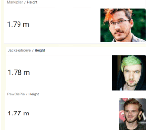 Who's the short one now: Markiplier / Height  1.79 m  Jacksepticeye/ Height  1.78 m  PewDiePie Height  1.77 m Who's the short one now