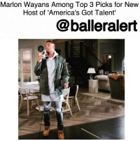 """Memes, Biopic, and 🤖: Marlon Wayans Among Top 3 Picks for New  Host of 'America's Got Talent'  balleralert Marlon Wayans Among Top 3 Picks for New Host of 'America's Got Talent'-blogged by @thereal__bee ⠀⠀⠀⠀⠀⠀⠀⠀⠀ ⠀⠀⠀⠀⠀⠀⠀⠀⠀ After NickCannon's departure, SimonCowell has narrowed down his top 3 picks for a new host on """" AmericasGotTalent"""", one of which is comedic legend MarlonWayans. ⠀⠀⠀⠀⠀⠀⠀⠀⠀ ⠀⠀⠀⠀⠀⠀⠀⠀⠀ Production sources tell TMZ that Cowell is currently considering Wayans, ToneBell, and BrandonMychalSmith. ⠀⠀⠀⠀⠀⠀⠀⠀⠀ ⠀⠀⠀⠀⠀⠀⠀⠀⠀ While Wayans is highly notable out of the candidates, the two others have a strong portfolio as well. ⠀⠀⠀⠀⠀⠀⠀⠀⠀ ⠀⠀⠀⠀⠀⠀⠀⠀⠀ Bell is a stand-up comic and actor who's been on shows like ' ChelseaLately,"""" and ' KeyandPeele.' While Smith has starred in quite a few Disney shows like ' ThatsSoRaven,' and ' So Random!'. He also played LittleRichard in the recent JamesBrown biopic 'Get On Up.' ⠀⠀⠀⠀⠀⠀⠀⠀⠀ ⠀⠀⠀⠀⠀⠀⠀⠀⠀ Wayans does seem to have an upper hand over the competition in that he already has some NBC hosting experience from the show """"I Can Do That."""" ⠀⠀⠀⠀⠀⠀⠀⠀⠀ ⠀⠀⠀⠀⠀⠀⠀⠀⠀ Cowell is set to meet with the 3 potentials to see who'd be best for the job. While he still can reject all candidates, these are his top picks for now."""