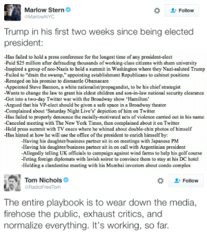 "newwavefeminism:  micdotcom:  Donald Trump is baiting the press with his tweets — and the media is falling for it The continued coverage of Trump's tweets trashing the media — and the media dutifully passing along his criticism to the general public —  will only further erode the public's tenuous trust of the press and their reporting. And if the public doesn't trust the press, reports on any possible Trump scandals in the future will fall on deaf ears, giving Trump more leeway to defy the democratic norms that have developed over 200 years of constitutional government. By getting the country to distrust the press, Trump could be inoculating himself from facing backlash from real issues the press may report down the line. He could also be softening the blow if he chooses to freeze the press out of his White House. The media needs to stop taking Trump's bait, or this cycle will only continue.    I really want a series of billboards to go up detailing all of his disgustingly unpresidential acts since being elected. : Marlow Stern  Follow  @MarlowNYC  Trump in his first two weeks since being elected  president:   -Has failed to hold a press conference for the longest time of any president-elect  -Paid $25 million after defrauding thousands of working-class citizens with sham university  Inspired a group of neo-Nazis to hold a summit in Washington where they Nazi-saluted Trump  -Failed to ""drain the swamp,"" appointing establishment Republicans to cabinet positions  -Reneged on his promise to dismantle Obamacare  -Appointed Steve Bannon, a white nationalist/propagandist, to be his chief strategist  Wants to change the law to grant his eldest children and son-in-law national security clearance  -Got into a two-day Twitter war with the Broadway show 'Hamilton'  Argued that his VP-elect should be given a safe space in a Broadway theater  -Complained about 'Saturday Night Live's' depiction of him on Twitter  Has failed to properly denounce the racially-motivated acts of violence carried out in his name  -Canceled meeting with The New York Times, then complained about it on Twitter  Held press summit with TV execs where he whined about double-chin photos of himself  Has hinted at how he will use the office of the president to enrich himself by:  -Having his daughter/business partner sit in on meetings with Japanese PM  -Having his daughter/business partner sit in on call with Argentinian president  -Allegedly telling UK officials to campaign against wind farms to help his golf course  -Feting foreign diplomats with lavish soiree to convince them to stay at his DC hotel  -Holding a clandestine meeting with his Mumbai investors about condo complex   Tom Nichols  @RadioFree Tom  Follow  The entire playbook is to wear down the media,  firehose the public, exhaust critics, and  normalize everything. It's working, so far. newwavefeminism:  micdotcom:  Donald Trump is baiting the press with his tweets — and the media is falling for it The continued coverage of Trump's tweets trashing the media — and the media dutifully passing along his criticism to the general public —  will only further erode the public's tenuous trust of the press and their reporting. And if the public doesn't trust the press, reports on any possible Trump scandals in the future will fall on deaf ears, giving Trump more leeway to defy the democratic norms that have developed over 200 years of constitutional government. By getting the country to distrust the press, Trump could be inoculating himself from facing backlash from real issues the press may report down the line. He could also be softening the blow if he chooses to freeze the press out of his White House. The media needs to stop taking Trump's bait, or this cycle will only continue.    I really want a series of billboards to go up detailing all of his disgustingly unpresidential acts since being elected."