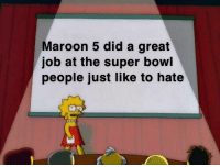 Maroon 5 did a great  job at the super bowl  people just like to hate