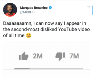 This too is a record of some kind. by Lowcrbnaman MORE MEMES: Marques Brownlee  @MKBHD  Daaaaaaamn, I can now say I appear in  the second-most disliked YouTube video  of all time  2M  7M This too is a record of some kind. by Lowcrbnaman MORE MEMES