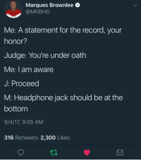 Apple, Blackpeopletwitter, and Record: Marques Brownlee  @MKBHD  Me: A statement for the record, your  honor?  Judge: You're under oath  e:I am aware  J: Proceed  M: Headphone jack should be at the  bottom  9/4/17, 9:05 AM  316 Retweets 2,300 Likes  12 <p>Don&rsquo;t need your &ldquo;courage&rdquo; Apple! (via /r/BlackPeopleTwitter)</p>