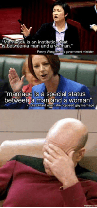 """#auspol Australian Labor Party: Marriage .is an institution that  is between a man and a woman.""""  Penny Wong When a government minister  """"marriage is a Special status  between a man and a woman""""  Julia Gillard when she opposed gay marriage  mematic net #auspol Australian Labor Party"""
