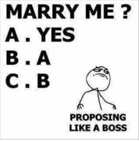 Boss: MARRY ME?  A YES  C. B  PROPOSING  LIKE A BOSS Boss
