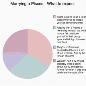 Life, Lose Yourself, and Let It Go: Marrying a Pisces - What to expect  | There is going to be a lot of  sleep involved so I hope  you like being horizontal  | Arguing with a Pisces is  like trying to catch the wind  in your fist. Just lose  yourself in their puppy  eyes and let it go it's never  their fault  They're professional  escapist but there is a lot  of fun involved. And by fun  I mean shrooms  @lookupthestarsastro  Wouldn't hurt a fly. Would  probably write a poem  about the fly and get it a  funeral for when it dies and  celebrate the cycle of life