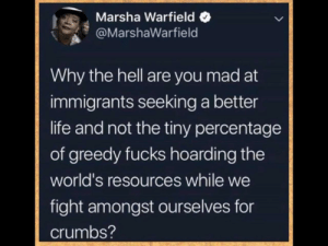 I need some more of those breadcrumbs: Marsha Warfield  @MarshaWarfield  Why the hell are you mad at  immigrants seeking a better  life and not the tiny percentage  of greedy fucks hoarding the  world's resources while we  fight amongst ourselves for  crumbs? I need some more of those breadcrumbs