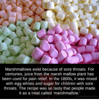 "egg white: Marshmallows exist because of sore throats. For  centuries, juice from the marsh mallow plant has  been used for pain relief. In the 1800s, it was mixed  with egg whites and sugar for children with sore  throats. The recipe was so tasty that people made  it as a treat called ""marshmallow.  fb.com/factsweird"