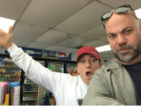 Eminem and his manager @rosenberg in a 7eleven: MART Eminem and his manager @rosenberg in a 7eleven