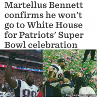 """Memes, History, and 🤖: Martellus Bennett  confirms he won't  go to White House  for Patriots' Super  Bowl celebration After the Patriots completed the greatest comeback in Super Bowl history, tight end Martellus Bennett (@martellusb) confirmed that he wasn't interested in attending the White House and isn't worried about what the owner thinks: l """"I don't support the guy that's in the (White) House."""" l Bennett is undoubtedly the most outspoken player on the Patriots, but it wouldn't be a surprise to see other teammates join him in not going. Repost @nyc4revolution superbowl patriots superbowl51 whitehouse donaldtrump notmypresident"""