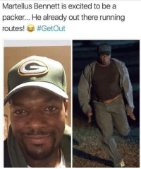 Af, Nfl, and Twitter: Martellus Bennett is excited to be a  packer... He already out there running  routes!  #Get Out Pure gold 😂 Credit: IM KENTUCKY AF/Twitter
