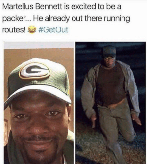 Postin up practicing those routes: Martellus Bennett is excited to be a  packer... He already out there running  routes! sa Postin up practicing those routes