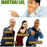 Dancing, Memes, and Dance: MARTHA! LOL  BUCKY  MANDARIN  LANGUAGE  SHAWARMA  DANCE OFF Lmao! {Armin/CBC}