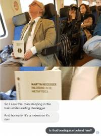 Martin, Meme, and Memes: MARTIN HEIDEGGER  INLEEDINGIN DE  METAFYSICA  So I saw this man sleeping in the  train while reading Heidegger  And honestly, it's a meme on it's  Own  Is that beetlejuice behind him? Transgender Memes for Transhuman Teens sent this in