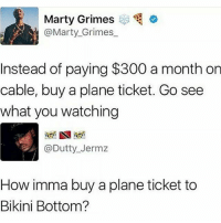 Memes, Twitter, and Bikini Bottom: Marty Grimes  @Marty_Grimes  Instead of paying $300 a month on  cable, buy a plane ticket. Go see  what you watching  @Dutty_Jermz  How imma buy a plane ticket to  Bikini Bottom? Lmaoooo niggas on twitter always wildin 💀💀 Shop Link in Bio @babecloset