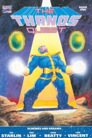 Thanos from the comic books looks like he's wearing an armored vault jumpsuit. And now I want an Infinity Gauntlet with a PipBoy.: MARVEC  COmiCs  BOOK  ONE  THANOS  QUEST  SCHEMES AND DREAMS.  TOM  RON  JOHN  JIM  STARLIN  LIM  BEATTY  VINCENT Thanos from the comic books looks like he's wearing an armored vault jumpsuit. And now I want an Infinity Gauntlet with a PipBoy.