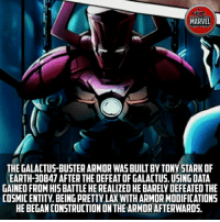 "He can build anything! What's next.. hope we see ""Thanos-buster"" in infinity war! 😂😂 Comics InfinityWar Spiderman Ironman Hulk Thor CaptainAmerica BlackPanther Vision Antman WarMachine Avengers CivilWar Marvel MarvelComics Marvelshots MarvelLegends marvelart deadpool2 SpidermanHomecoming Deadpool Wolverine xmen Logan thorragnarok drstrange sentry tomholland comicbookart: MARVEL  ACT FICE  THE GALACTUS-BUSTER ARMOR WASBUILT BY TONY STARK OF  EARTH-30847 AFTER THE DEFEAT OF GALACTUS.USING DATA  GAINED FROM HIS BATTLE HE REALIZED HE BARELYDEFEATED THE  COSMIC ENTITY, BEING PRETTY LAX WITH ARMOR MODIFICATIONS  HE BEGAN CONSTRUCTION ON THE ARMOR AFTERWARDS. He can build anything! What's next.. hope we see ""Thanos-buster"" in infinity war! 😂😂 Comics InfinityWar Spiderman Ironman Hulk Thor CaptainAmerica BlackPanther Vision Antman WarMachine Avengers CivilWar Marvel MarvelComics Marvelshots MarvelLegends marvelart deadpool2 SpidermanHomecoming Deadpool Wolverine xmen Logan thorragnarok drstrange sentry tomholland comicbookart"