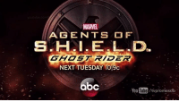 "MARVEL  AGE NTS FT  GHOST RIDER  NEXT TUESDAY 109c  bc  You Tube/tvpromosdb Get ready for tonight's episode of Agents of S.H.I.E.L.D. ""Lockup"" airing tonight at 10 PM on ABC! Also join us here on the Marvel Cinematic Universe for a live chat while the episode airs!  (Nerds Love Art)"