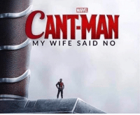 Memes, Marvel, and Time: MARVEL  CANTMAN  MY WIFE SAID NO Maybe next time