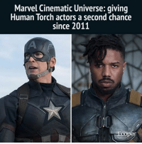 Memes, Marvel, and Marvelous: Marvel Cinematic Universe: qiving  Human Torch actors a second chance  since 2011  per Thanks for looking out, Marvel! Follow @LooperHQ marvelcinematicuniverse MarvelLegends marvelshots marvelous marvelstudios Marvelmovies marvelart CaptainMarvel marvelcosplay marvelheroes