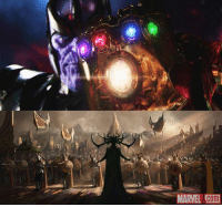 """Love, Memes, and Affect: MARVEL  Com Mistress Death is an integral part of the """"Infinity War"""" saga. Thanos collects the Infinity Gems to create the Infinity Gauntlet and wipe out half the universe to prove his love to her. Interestingly, there has been no sign of Death appearing in AVENGERS: INFINITY WAR. However, we know Cate Blanchett will play Hela, the Goddess of Death in THOR: RAGNAROK. Could Marvel Studios be swapping out Death in favor of Thanos trying to win the affection of Hela instead?  (Andrew Gifford)"""