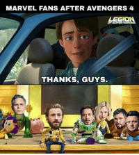 Instagram, Memes, and Avengers: MARVEL FANS AFTER AVENGERS 4  LEGION  THANKS, GUYS Marvel fans after AVENGERS 4.  Follow MCU on Instagram. https://www.instagram.com/mcuoninsta/  (Clint Barton/Hawkeye)