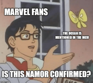 Meme, Tumblr, and Blog: MARVEL FANS  THE OCEAN IS  MENTIONED IN THEMCU  IS THIS NAMOR CONFIRMED?  Fi  imgflip.com daily-meme:  Every time someone talks about the sea…