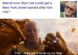 I hope they will remember you: Marvel icon Stan Lee could get a  New York street named after him  CNET  This... does put a smile on my face I hope they will remember you
