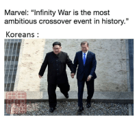 "<p>This is a meme via /r/memes <a href=""https://ift.tt/2Fm7jLh"">https://ift.tt/2Fm7jLh</a></p>: Marvel: ""Infinity War is the most  ambitious crossover event in history.""  Koreans <p>This is a meme via /r/memes <a href=""https://ift.tt/2Fm7jLh"">https://ift.tt/2Fm7jLh</a></p>"