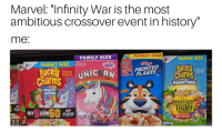 """Magical Unicorn: Marvel: """"Infinity War is the most  ambitious crossover event in history""""  me:  FAMILY SIZE  FAMILY SIZE  FAMILY SIZE  FAMILY SIZE  LIMITED  FROSTED  FLAKES  FROSTED TOASTED  OAT CEREAL WITH  ETENED CORN  LAKE CEREAIL WITH  ROSTED  Charms  Charm  Frosted Flakes a  MAGICAL  UNICORN  epreCHaUn  TRaPI  FIND SUC  550  BUY EARN  FIND SUCCESS  IN EVERY CLIP  ON BACK  5 TO COLLECT"""