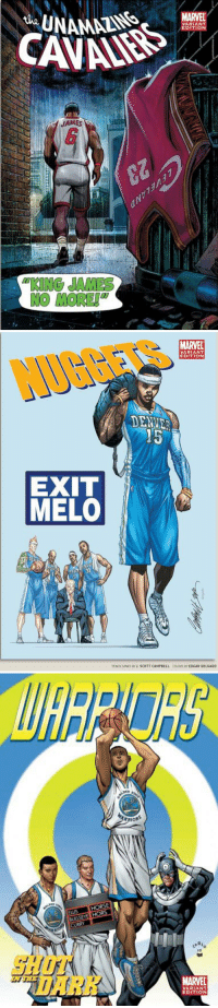 "Espn, Memes, and Nba: MARVEL  JAMES  ""KING JAMES  NO MORE!   MARVEL  VARIANT  EDITION  NUGGETS  DENUE  15  EXIT  MELO  PENOLSINKS BY J. SCOTT CAMPBELL  COLORS RY EDGAR DELGADO   RRIOR  ELLIS HORSE  CURRY  ""DARK. ""  MARVEL  6  8  EDITION Back in 2010, ESPN & Marvel teamed up to make comic covers for every NBA team.   Check out all 30 covers: https://t.co/yL8ZiWkHWC https://t.co/770W22A2Ul"