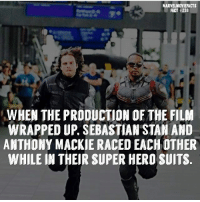 Memes, Stan, and Superhero: MARVEL MOVIEFACTS  FACT 238  WHEN THE PRODUCTION OF THE FILM  WRAPPED UP, SEBASTIAN STAN AND  ANTHONY MACKIE RACED EACHOTHER  WHILE IN THEIR SUPER HERO SUITS Villains tonystark ironman marvel RDJ hulk avengers comics thor sciencebros marvelmovies blackwidow hawkeye captainamerica starkindustries steverogers teamstark teamcap robertdowneyjr geek superhero superheroes ironman1 ironman2 ironman3 gaurdiansofthegalaxy captainamericacivilwar civilwar marvelcomics marveluniverse