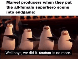 Definitely wasn't forced at all via /r/memes http://bit.ly/2EsZ2HA: Marvel producers when they put  the all-female superhero scene  into endgame:  Well boys, we did it. Sexism is no more. Definitely wasn't forced at all via /r/memes http://bit.ly/2EsZ2HA