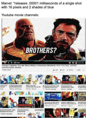 Come up with your Theories in the comment section below or on Facebook, Twitter or Google +: Marvel: releases .00001 milliseconds of a single shot  with 16 pixels and 2 shades of blue  Youtube movie channels:  BROTHERS?  Avengers Endgame Tony and Thanos hiding a homosexual relationship NEW FOOTAGE LEAKED  EASTER EGGS, REVEAL  132031 views  PEA Come up with your Theories in the comment section below or on Facebook, Twitter or Google +
