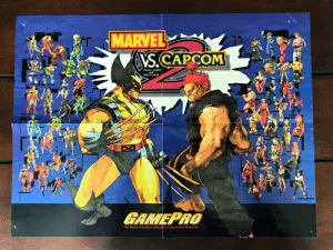 I still have a Marvel vs Capcom 2 poster from GamePro magazine in decent shape. It's almost 20 years old and survived being hung on my bedroom wall for years as a teenager.: MARVEL  S.CAPCOM  New Age  of  Heroes  GAMEPRO  THE WORLD'S LARGEST MULTIPATFORM GAMING MAGAZINE I still have a Marvel vs Capcom 2 poster from GamePro magazine in decent shape. It's almost 20 years old and survived being hung on my bedroom wall for years as a teenager.