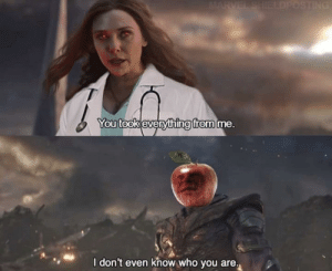 me🍎irl: MARVEL SHIELDPOSTING  You took everything from me.  I don't even know who you are. me🍎irl
