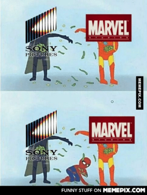 Marvel and Sony probably see the deal they made very similarlyomg-humor.tumblr.com: MARVEL  SONY  PICTURES  MARVEL  TUD IOS  SONY  PICTURES  FUNNY STUFF ON MEMEPIX.COM  MEMEPIX.COM Marvel and Sony probably see the deal they made very similarlyomg-humor.tumblr.com