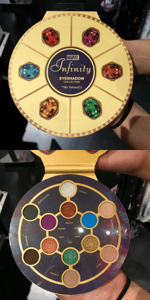 """Pizza, Shit, and Target: MARVEL  ST finity  EYESHADOW  COLLECTION  Her Universe   COSMIC  ,REALITY  SPAC  POWER  MIND  SOUL  TIME  INFINITY marsincharge:  sophiaslittleblog:  pan-pizza:""""Death follows him like eye shadow. That's who Thanos is"""" - Mantis  @marsincharge   What the shit, I need this"""