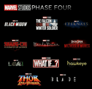 Blade, Doctor, and Future: MARVEL STUDIOS PHASE FOUR  MARVEL STUDIOS  THE FALCON  MARVEL STUDIOS  MANEL STUOOS  BLACK WIDOW  ETERNALS  AND  THE  WINTER SOLDIER  MARVEL STUDIOS  MARVEL STUDIOS  DOCTOR STRAINGE  ndoVision MULTIVERSË OF MADNESS  SHANG-CHI  N THE  AN LEGEND OF THE TEN RINGS  MARVEL STUDIOS  ANTCTunInc  mme UIUUIUU  WHATIF?  MARVEL STUDIOS  hawkeye  LGK  MARVEL STUDIOS  MARVEL STUDIOS  THOK  OVE AND HUNDER  BLADE Future is bright
