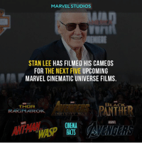 @MARVEL know his time in numbered.... :( - Follow @cinfacts for more! - marvel marvelcomics marvelcinematicuniverse ironman infinitywar avengers stanlee spiderman blackpanther blackwidow captainamerica thor thanos falcon rocketraccoon wasp antmanandthewasp antman fantasticfour fantastic4 xmen spidermanhomecoming avengersinfinitywar marvel mcu fox foxstudio foxstudios: MARVEL STUDIOS  STAN LEE HAS FILMED HIS CAMEOS  FOR THE NEXT FIVE UPCOMING  MARVEL CINEMATIC UNIVERSE FILMS.  AVENDERS PANTHE  ASP  LACK  RAGNAROK  MARVEL  CINEMA  FACTS  THE @MARVEL know his time in numbered.... :( - Follow @cinfacts for more! - marvel marvelcomics marvelcinematicuniverse ironman infinitywar avengers stanlee spiderman blackpanther blackwidow captainamerica thor thanos falcon rocketraccoon wasp antmanandthewasp antman fantasticfour fantastic4 xmen spidermanhomecoming avengersinfinitywar marvel mcu fox foxstudio foxstudios