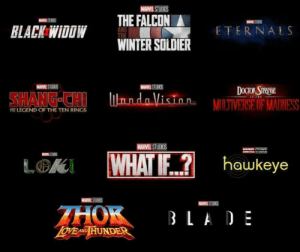 Blade, Winter, and Marvel: MARVEL STUDIOS  THE FALCON  MSTS  RLACK WIDOW  ETERNALS  WINTER SOLDIER  MARVEL STUDIOS  DOCTORSTPAINGE  SHANG-CHI lnndoVision- MILTIVERSE OF MADNESS  LEGEND OF THE TEN RINGS  MARVEL STUDIOS  WHAT IF...? hawkeye  MS  LOK  MARVELSTUDIOS  MARVEL STUS  THOK  LoVEANTD HUNDER  BLADE Marvel phase four